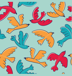 Seamless pattern with cute cartoon birds flying vector