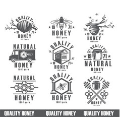 Set bees background vintage icons nectar vector