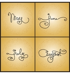 Set handwritten calligraphy words May June July vector image