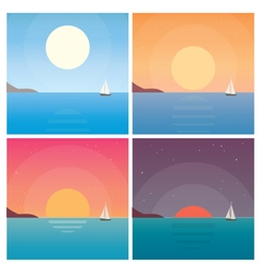 Set landscape sunset vector