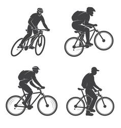 Set mens on mountain bikings vector