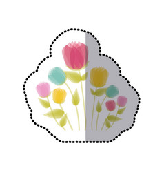 Sticker faded tulips floral icon design vector