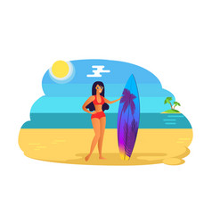 Suntanned girl red swimsuit with surfboard woman vector