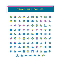 travel and map icon set with filled outline style vector image