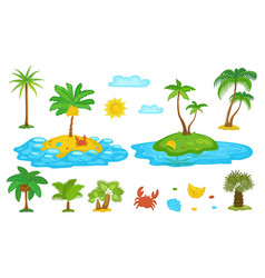 tropical palm tree set isolated on white vector image