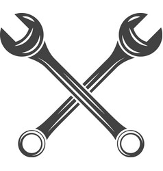 Two crossed spanners wrenches Black on white flat vector