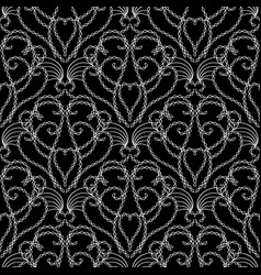 vintage black and white damask seamless vector image