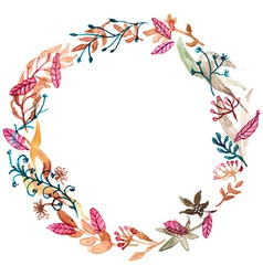 Watercolor floral frame colorful natural vector