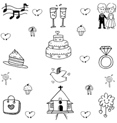Wedding set doodle art vector