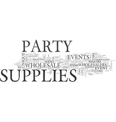 Wholesale party supplies text word cloud concept vector
