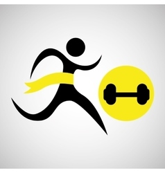 winner silhouette sport weight barbell vector image