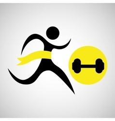 Winner silhouette sport weight barbell vector