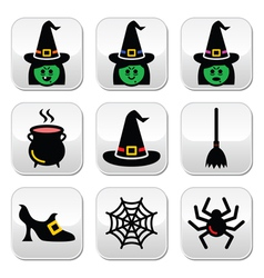 Witch Halloween buttons set vector image