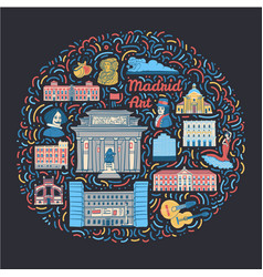 With famous madrid cultural places vector