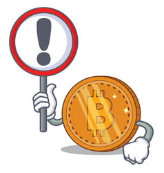 With sign bitcoin coin character cartoon vector