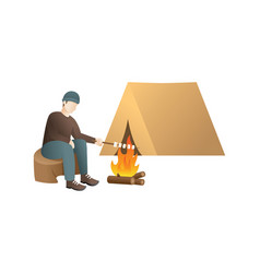 young man on a camp vector image