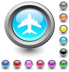 Aircraft round button vector image