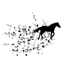 autumnal background with horse vector image