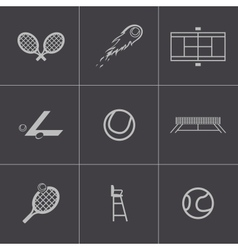 black tennis icons set vector image