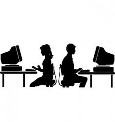 computer worker vector image vector image