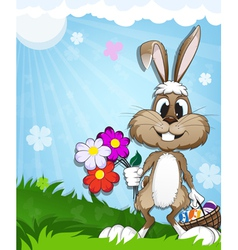 Happy bunny in the meadow vector image