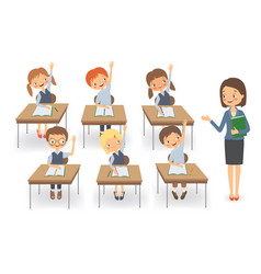 teacher with pupils at a lesson isolated vector image