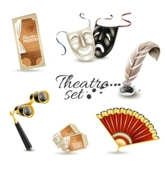 Theater attributes flat pictograms set vector image vector image