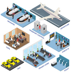 airport zone set isometric view vector image vector image