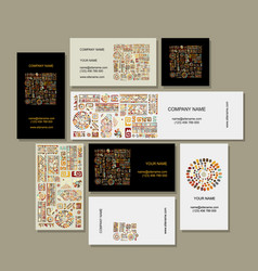 business cards design ethnic handmade ornament vector image