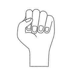 hand fist icon monochrome dotted silhouette vector image vector image