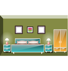 interior space bedroom with a bed vector image vector image