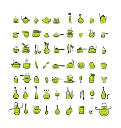 Kitchen utensils characters sketch drawing icons vector image