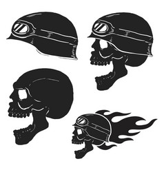 skull in rider helmet with fire vector image vector image