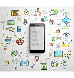Smart Phone infographics -handdrawn style vector image vector image