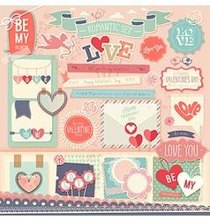Valentines Day scrapbook set vector image vector image