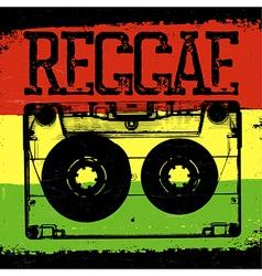 Audiocassette and Reggae lettering reggae design vector image vector image