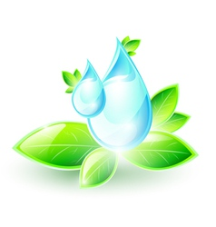 Blue droplets one green leaves vector image vector image