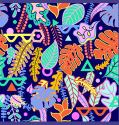 tropical vibrant tropical leaves seamless pattern vector image