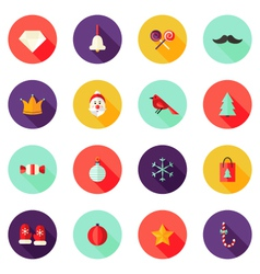 Christmas Circle Flat Icons Set 1 vector image