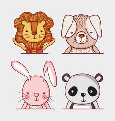 Cute and wild animlas doodle cartoons vector