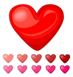 Cute shiny red pink heart icons set isolated on vector image