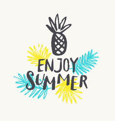Enjoy summer modern hand drawn lettering phrase vector