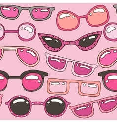 Seamless pattern with pink hand drawn sunglasses vector image