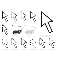 set of arrows and mice for the computer a vector i vector image