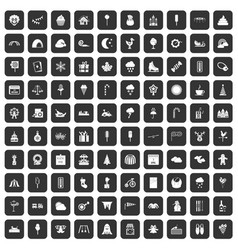 100 childrens parties icons set black vector