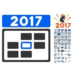 2017 Date Icon With 2017 Year Bonus Pictograms vector image