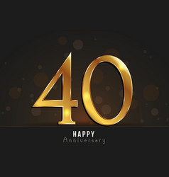 40 years happy anniversary card vector image