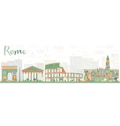 Abstract rome skyline with color landmarks vector