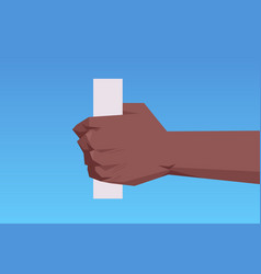 African american human hand holding paper cylinder vector