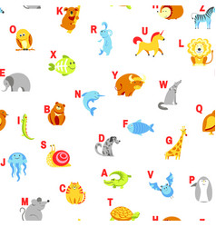 alphabet animals and letters study material for vector image